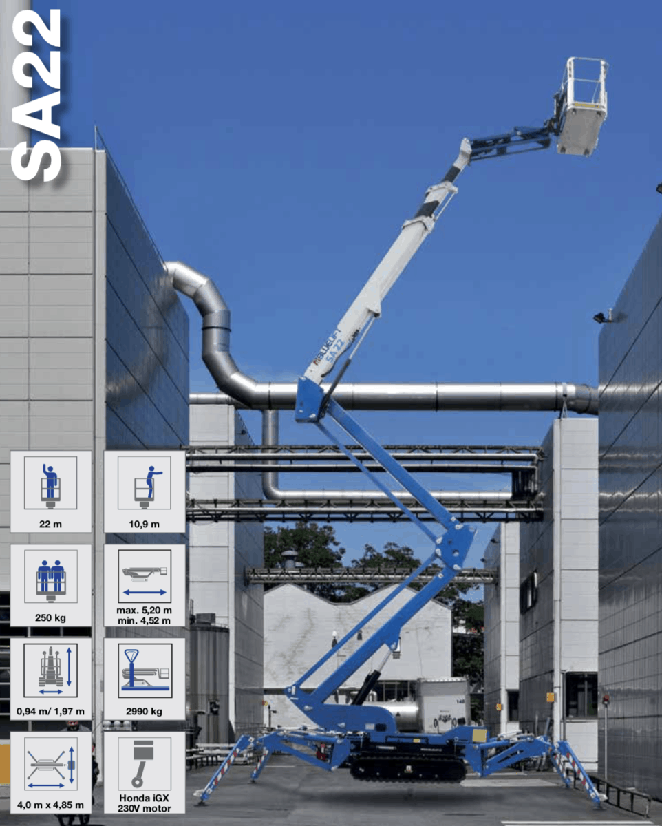 Blue Lift SA 22 spiderlift for hire in perth