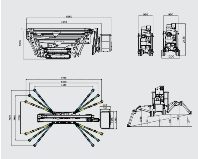 Blue Lift SA 26 spiderlift size and dimensions